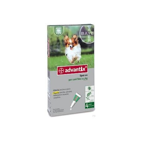 Advantix pipetas antiparasitarias 6x0,4ML para perros 0-4kg